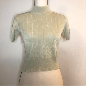 17 North 100% Silk Mock Neck Sweater Top Sz Petite